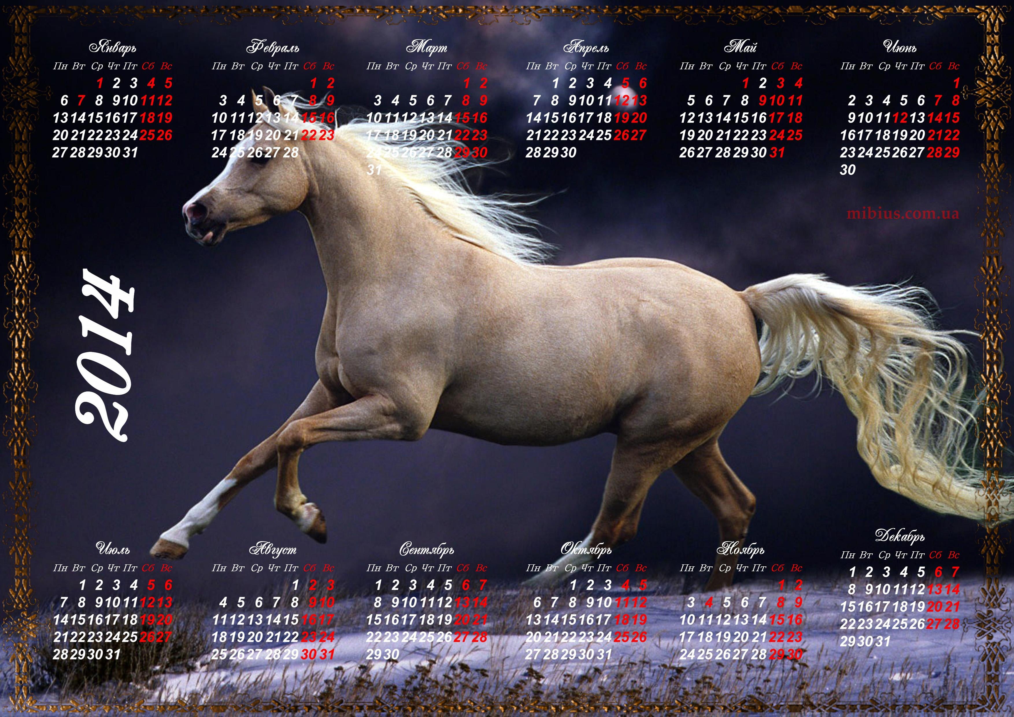 Скачать обои календарь, лошадь, 2014 год на рабочий стол. .  Картинки для рабочего стола без регистрации.